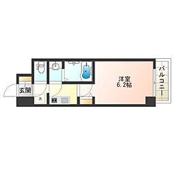 近鉄南大阪線 河堀口駅 徒歩5分の賃貸マンション 2階1Kの間取り