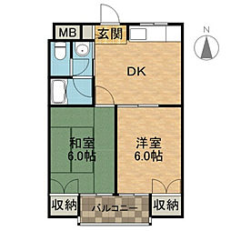 大阪府高槻市土室町の賃貸マンションの間取り