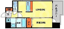 プレサンス南堀江 9階1LDKの間取り