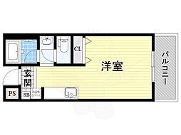大阪モノレール彩都線 万博記念公園駅 徒歩10分の賃貸マンション 4階ワンルームの間取り