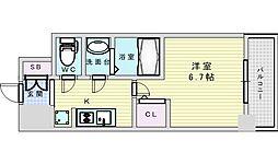 Osaka Metro御堂筋線 西中島南方駅 徒歩14分の賃貸マンション 3階1Kの間取り