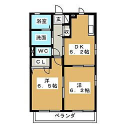 ユウディアスナカA[1階]の間取り