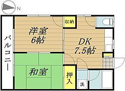 JR埼京線 与野本町駅 徒歩22分の賃貸アパート 2階2DKの間取り