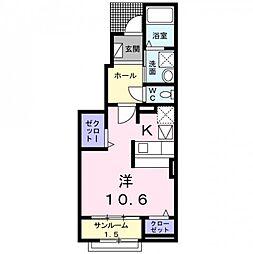 カーサフィオーレ 1階1Kの間取り