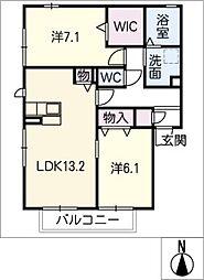 レフィナード松原B[2階]の間取り