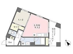 サントヴィラージュ摩耶 3階1LDKの間取り