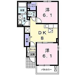 サンモールK(平田町) 1階2DKの間取り