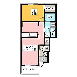 イリーデン 1階1LDKの間取り