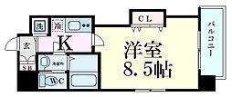 Luxe江坂II 9階1Kの間取り