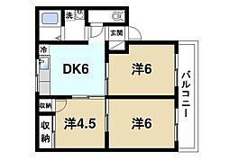 奈良県奈良市南京終町7丁目の賃貸アパートの間取り