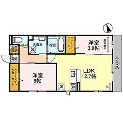 (仮)D-room堺市北区百舌鳥西之町 1階2LDKの間取り