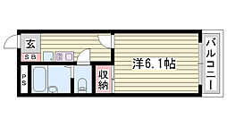 JR播但線 京口駅 徒歩18分の賃貸アパート 2階1Kの間取り