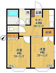 コーポ飯島[101号室]の間取り
