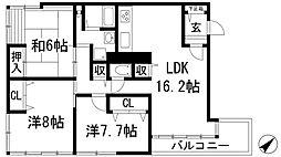 兵庫県宝塚市仁川高丸2丁目の賃貸マンションの間取り
