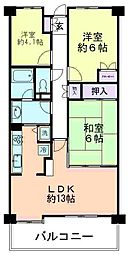 萩山パークホームズ[608号室]の間取り