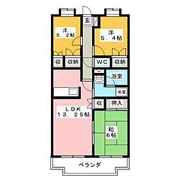 静岡県富士市松富町の賃貸マンションの間取り