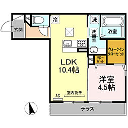 山口県下関市綾羅木新町2丁目の賃貸アパートの間取り