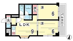兵庫県神戸市中央区旗塚通6丁目の賃貸マンションの間取り
