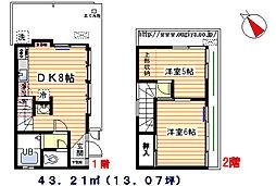[一戸建] 東京都北区滝野川2丁目 の賃貸【/】の間取り