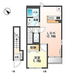愛知県名古屋市緑区鳴海町字明願の賃貸アパートの間取り