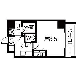 レジデンシア泉 8階1Kの間取り