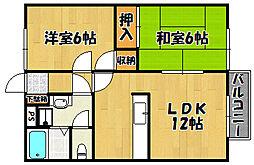 JR山陽本線 明石駅 バス27分 宮下3丁目下車 徒歩2分の賃貸アパート 2階2LDKの間取り