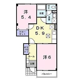 滋賀県大津市大江3の賃貸アパートの間取り