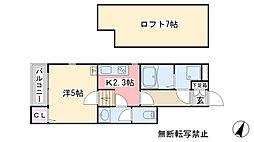 福岡県糸島市高田2丁目の賃貸アパートの間取り