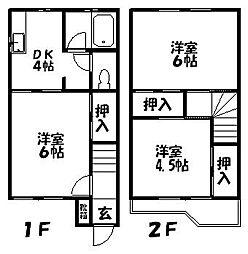 [テラスハウス] 茨城県取手市井野台4丁目 の賃貸【/】の間取り