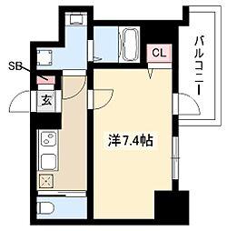 エスリード新栄デュオ 4階1Kの間取り
