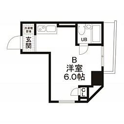 都営浅草線 宝町駅 徒歩2分の賃貸マンション 5階ワンルームの間取り