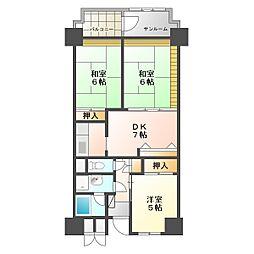 ビレッジハウス金沢タワー[1010号室]の間取り