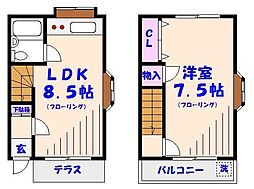 [テラスハウス] 千葉県市川市本塩 の賃貸【/】の間取り