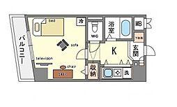 家具・家電付き エスポワールマンション天神南[7階]の間取り