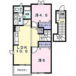 埼玉県春日部市梅田1丁目の賃貸アパートの間取り