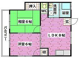 広島県安芸郡海田町幸町の賃貸アパートの間取り
