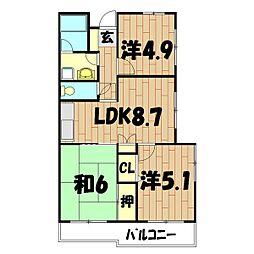 二俣川ハイツ[401号室]の間取り