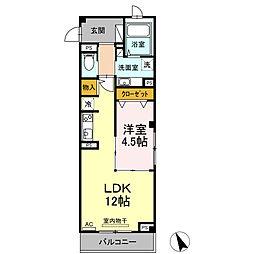 元貞坂S 3階1LDKの間取り