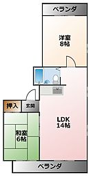 メイプル甲子園[4階]の間取り