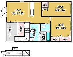 大阪府箕面市小野原西2丁目の賃貸アパートの間取り