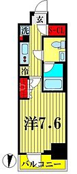 東武亀戸線 亀戸水神駅 徒歩10分の賃貸マンション 12階1Kの間取り