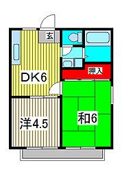 埼玉県川口市上青木西2丁目の賃貸アパートの間取り