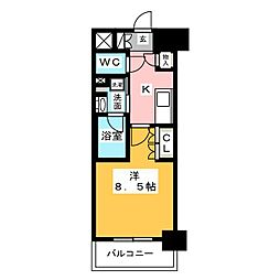 OKBアヴェニール菊井町 6階1Kの間取り