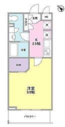JR山手線 大塚駅 徒歩6分の賃貸マンション 2階1Kの間取り