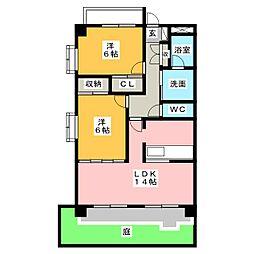 愛知県名古屋市守山区竜泉寺2丁目の賃貸マンションの間取り