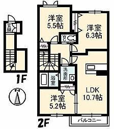 シャーメゾン レ・フレールIII[2階]の間取り