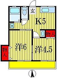 第2山文荘[2階]の間取り