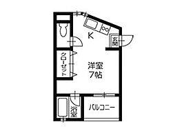 メゾンIKKOQU ペット可(犬) 3階ワンルームの間取り
