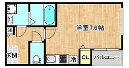 Osaka Metro谷町線 千林大宮駅 徒歩10分の賃貸アパート 2階ワンルームの間取り