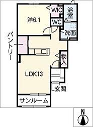 レディバード A棟[1階]の間取り